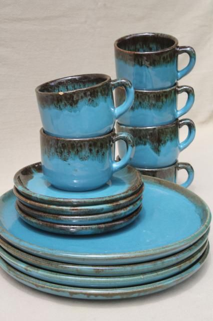 Gorgeous California Rustic vintage stoneware pottery dishes ocean blue w/ copper brown drip glaze & Gorgeous California Rustic vintage stoneware pottery dishes ocean ...