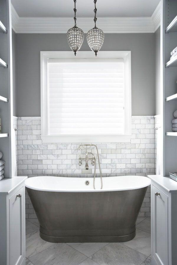Grey Walls Pearl Tile And Soaker Tub Make This Bathroom Elegant