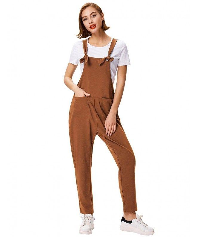 Women's Fashion Casual Overalls Baggy Stretchy Jumpsuit Romper Bib Pants - Coffee - CN189U6YAT5 #jumpsuitromper