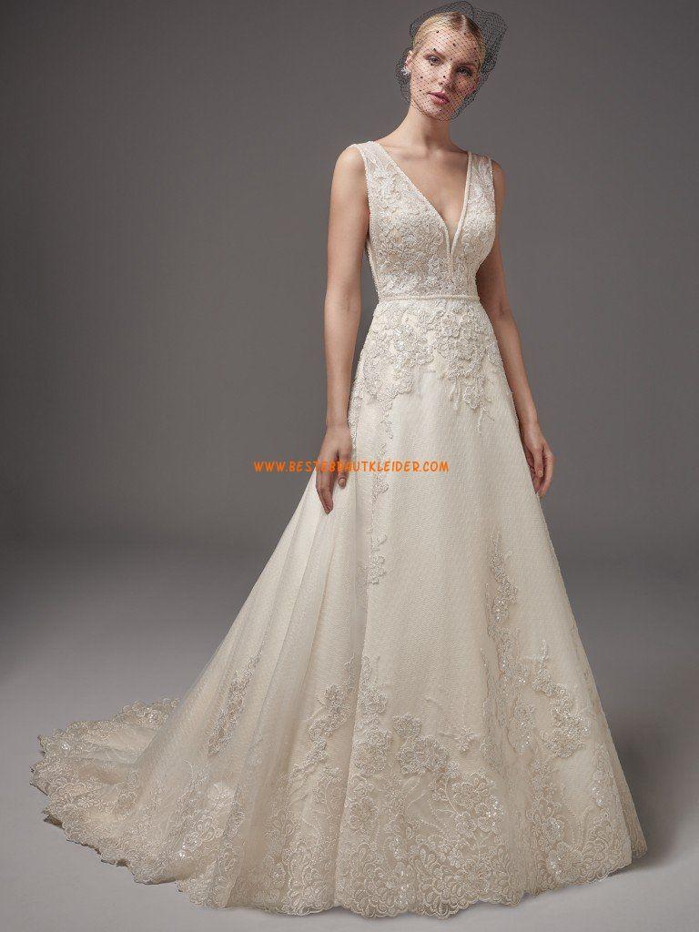 A-linie V-ausschnitt Glamouröse Brautkleider aus Tüll mit ...
