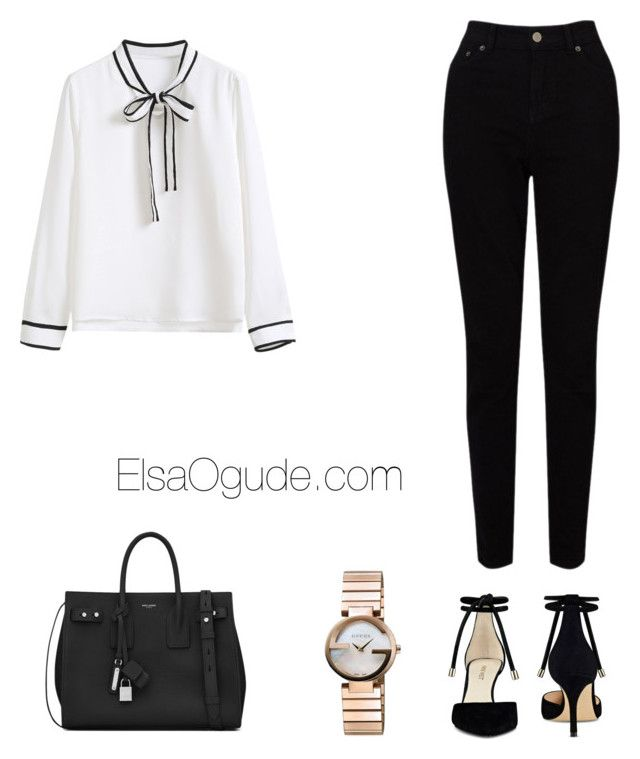 """""""Work outfits with jeans"""" by elsaogude on Polyvore featuring WithChic, EAST, Yves Saint Laurent, Nine West and Gucci"""