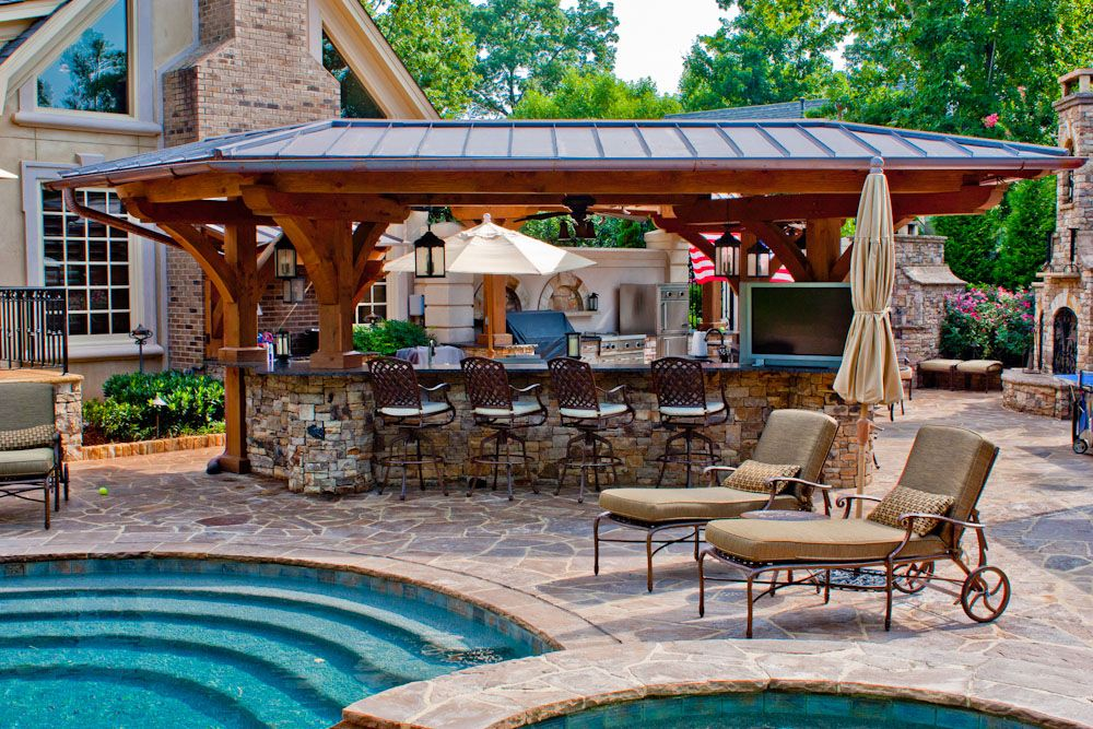 I Like The Different Gathering Areas In This Outdoor Poolside Area Bar Kitchen Fireplace Etc Dream Backyard Backyard Rustic Patio