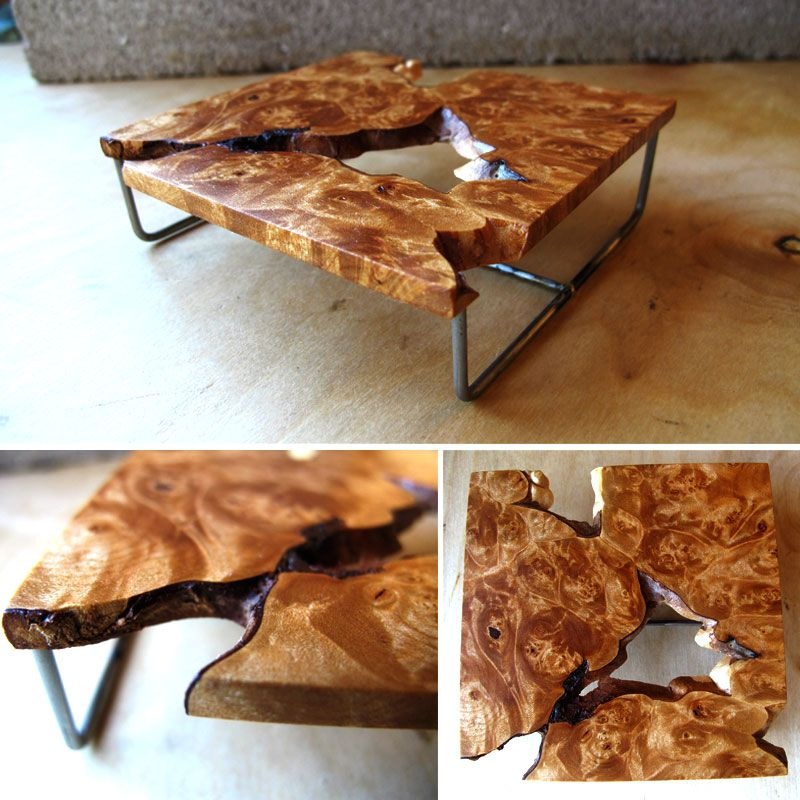 Maple Burl wood tableLeaves Wood and StoneA Nature Motif