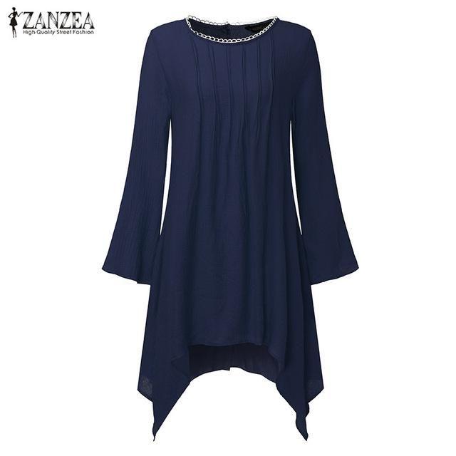 47c29630dc2 2017 ZANZEA Women Vintage O-Neck Long Sleeve Pleated Asymmetric Hem ...