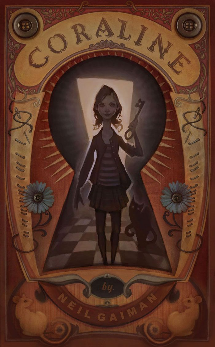 A book cover for Coraline by Mr. Neil Gaiman Audrey