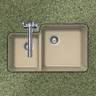 "Houzer Quartztone 33"" x 20.76"" 70/30 Double Bowl Undermount Kitchen Sink Finish: Sand"