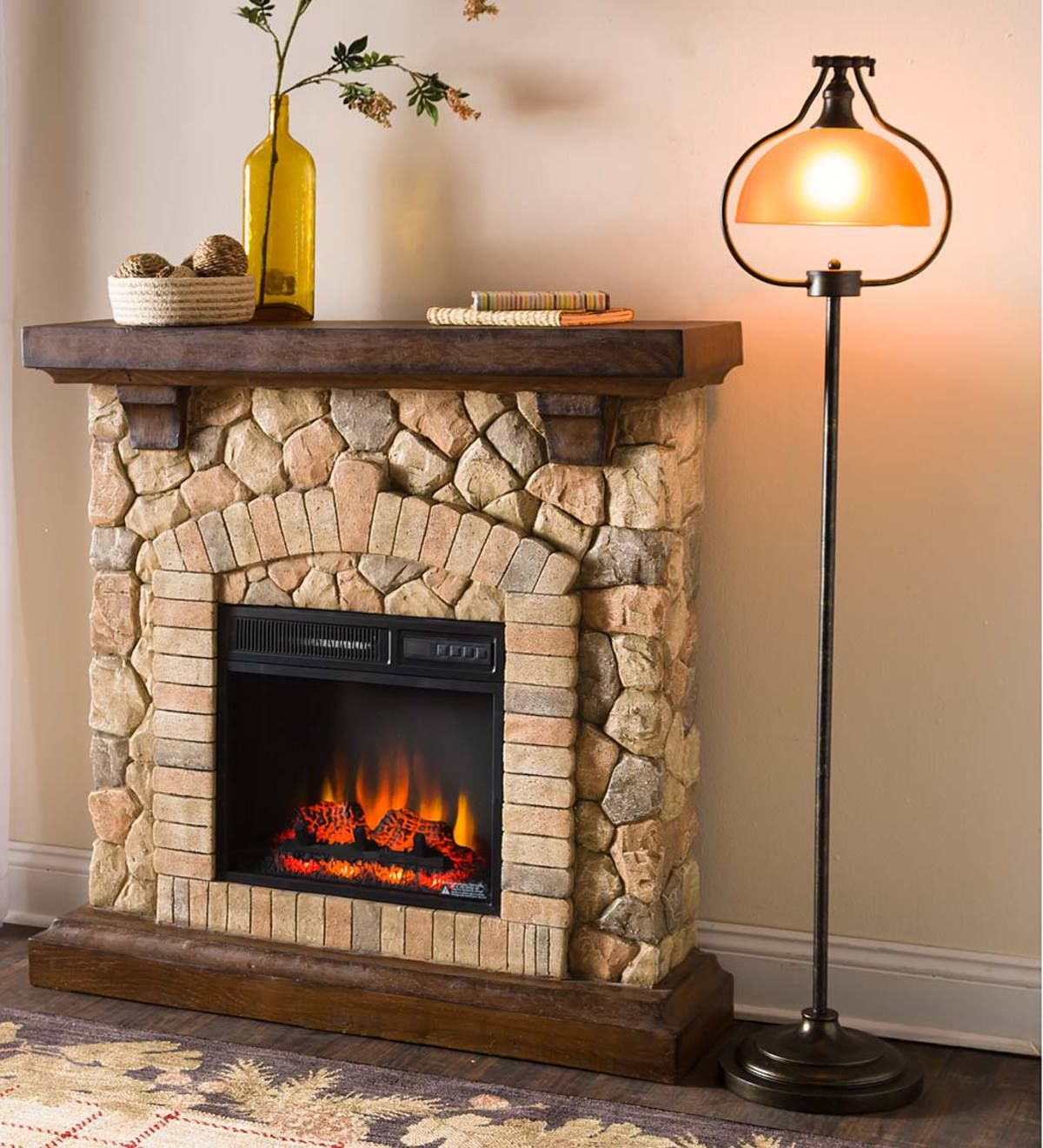 Stacked stone electric infrared quartz fireplace heater home and