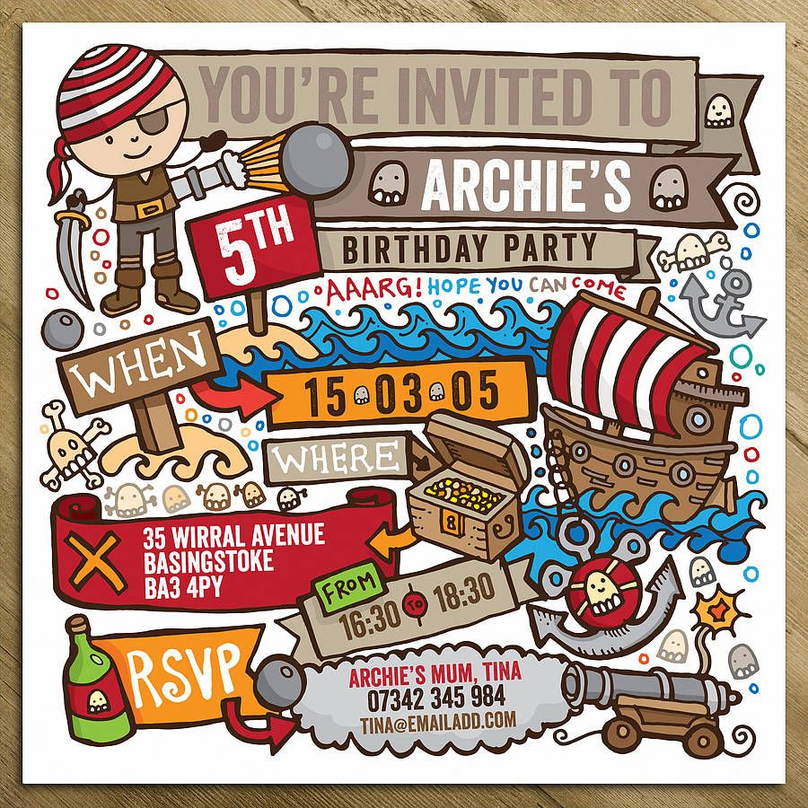 Pirate Childrens Party Invitations | Personalised Invitations and ...