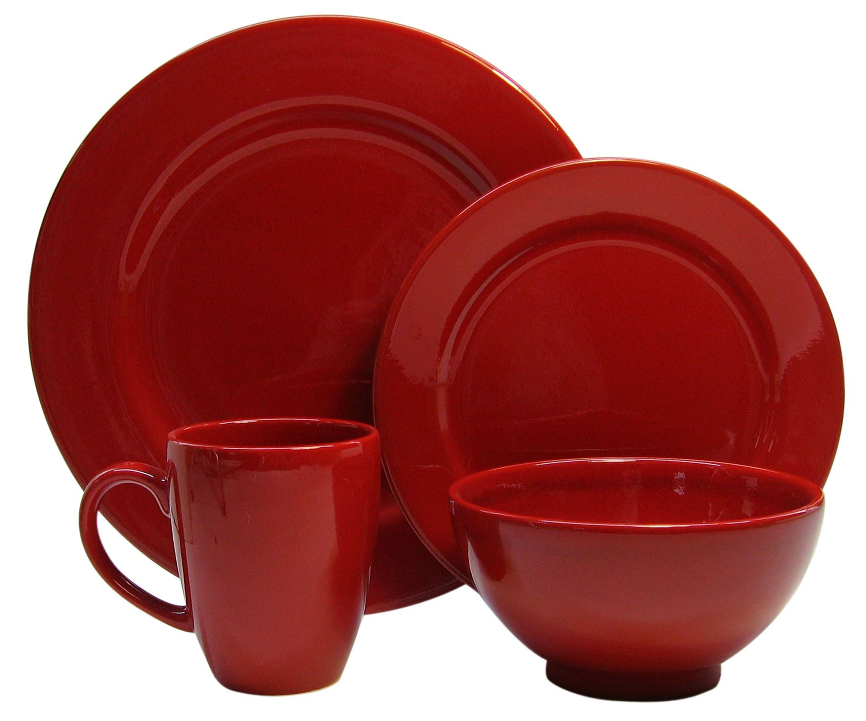 16pc Place Setting Fun Factory Red, Service for 4 (Dinner Salad, Soup/Cereal Bowl, Jumbo Caffelatte Cup)