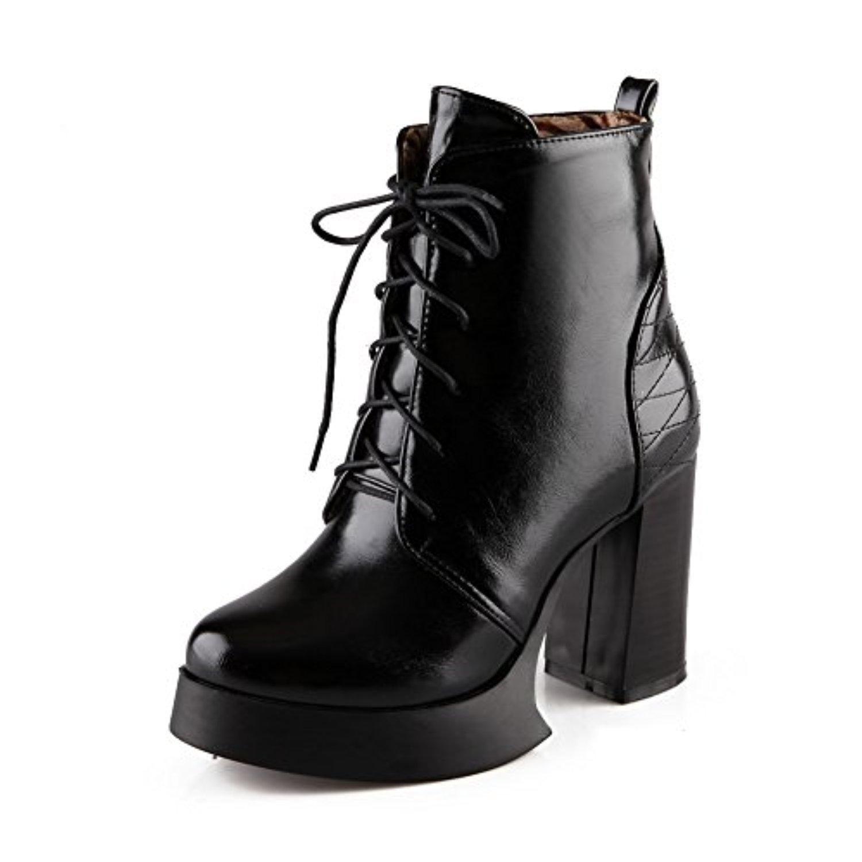 Womens Bandage Lace Platform Chunky Heels Black Imitated Leather Boots - 8.5 B(M) US