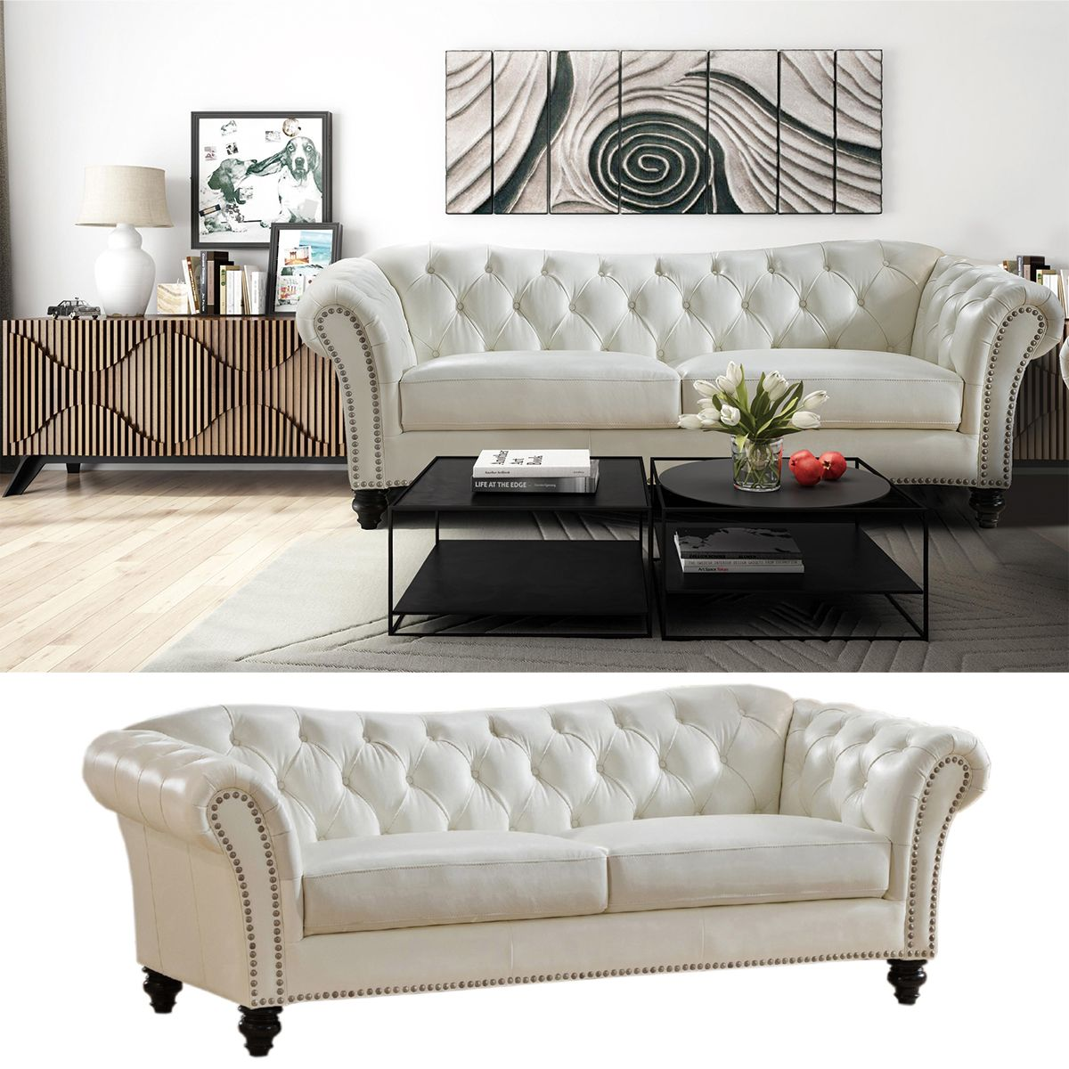 Paris Transitional Tufted White Leather Sectional Sofa: Jane Leather Craft Furniture Mona Sofa In Tufted Ivory