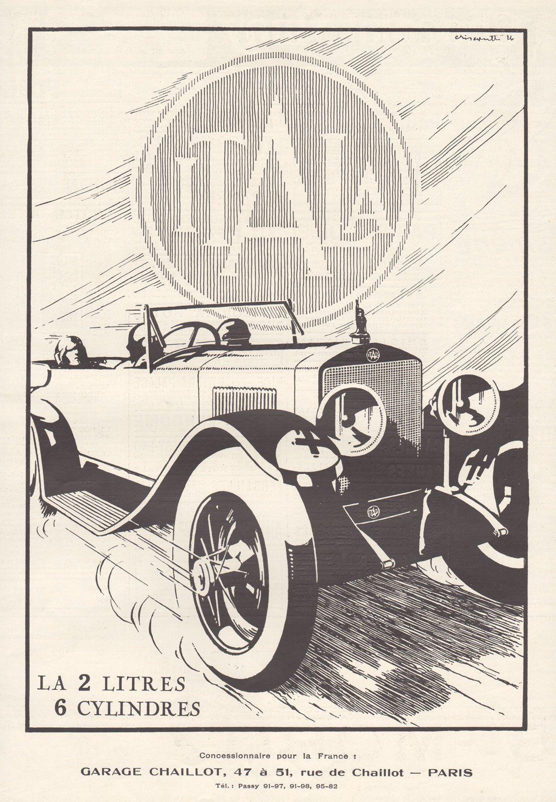 1926 French Print Ad Itala 2LTS 6 Cylinders Italian Auto Automobile ...