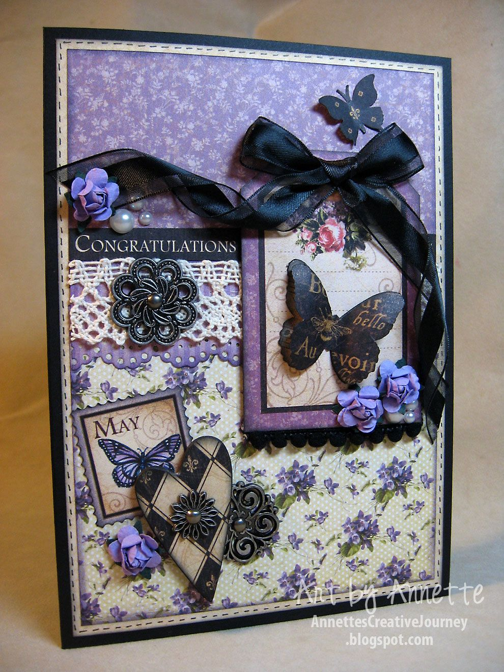Bridal shower card using gus place in time and french country