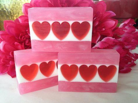 Sweetheart soap - Plumeria glycerin soap - Valentine Soap - Heart soap - Gift for girlfriend, wife, mom, daughter