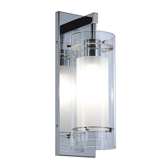 Wall Sconce 1 Light Wall Mount Light With Clear And Frost Glass Contemporary Chrome Bathroom Vanity Wall Light Xinbei Li Wall Mounted Light Wall Lights Sconces