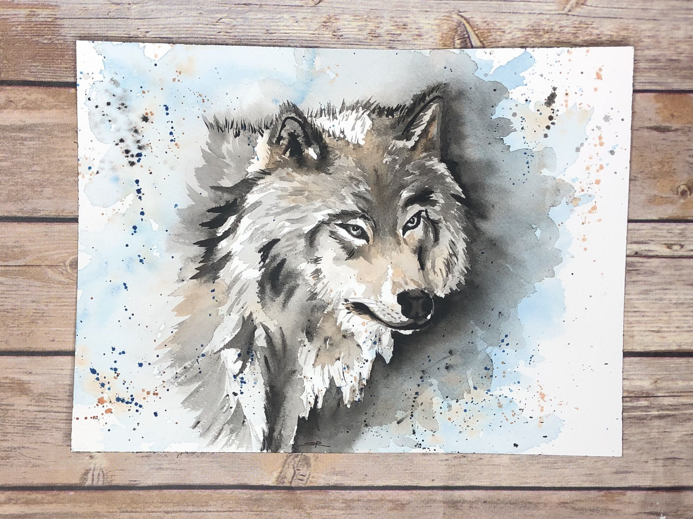 Original Wolf Watercolor Painting Realistic Animal Wall Art Gift