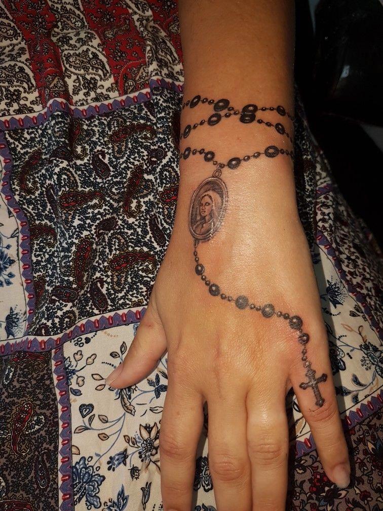 wrist tattoo bracelet #smallwristtattooformen #rosarybeadtattoo