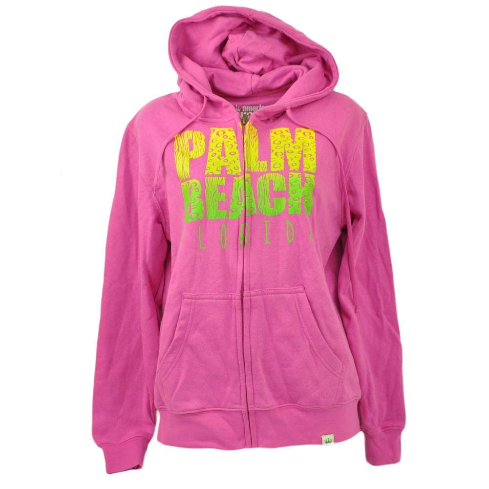 Palm beach florida pink zip up fleece sweater hoodie womens ladies