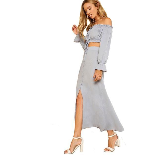 205ea651b1a9a2 Blue Tie Crop Bardot Top   Buttoned Skirt Set 2018 Sexy Women Off The  Shoulder Long Sleeve Button Plain 2 Pieces Sets