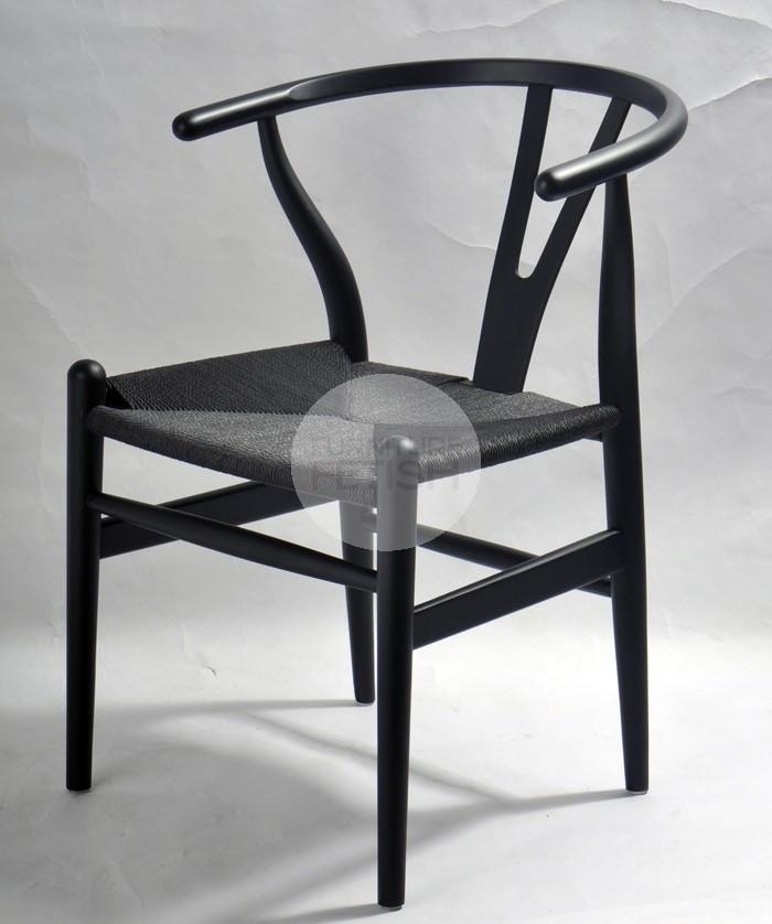 Replica Hans Wegner Wishbone Chair Black/Black Cord