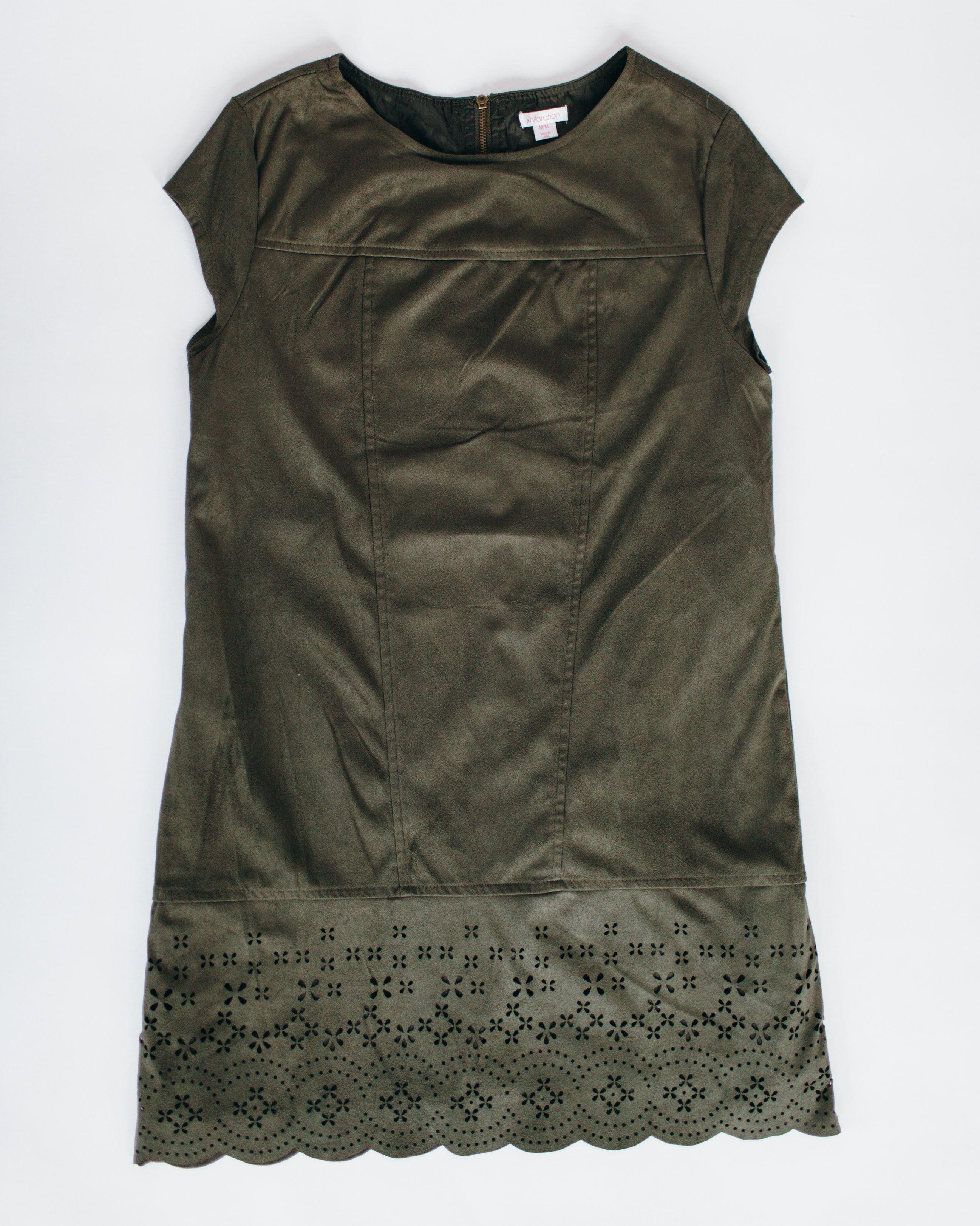 Xhilaration Olive Laser-Cut Suede Dress