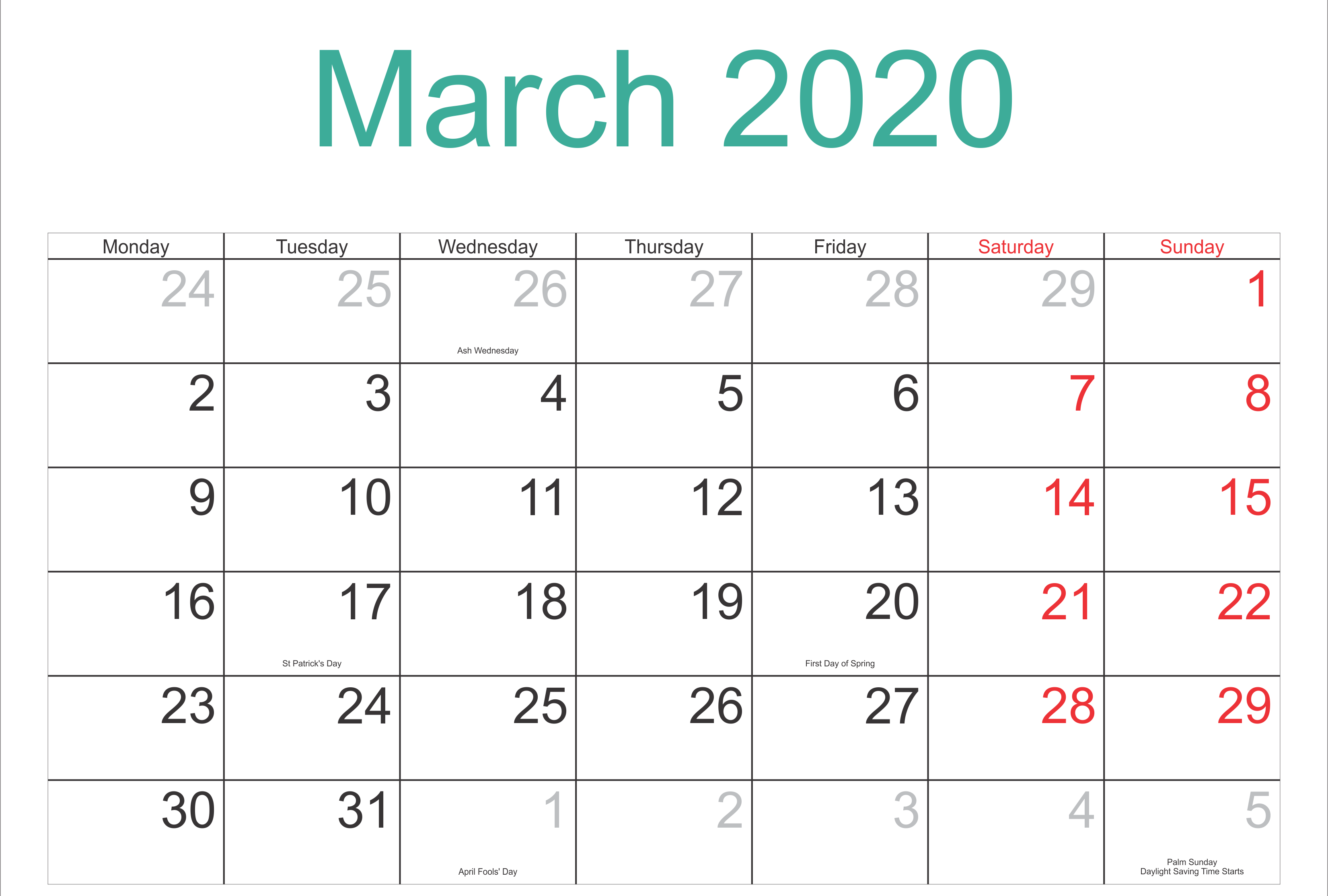March Month Calendar 2020 Printable Template In 2020 Holiday