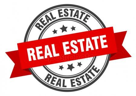 Real estate label real estate red band sign real estate  Stock Vector
