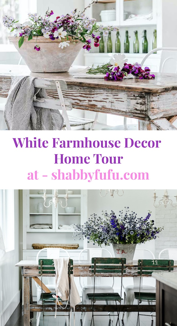 Minimalist white farmhouse decor has been trending for some time now. This refreshing take on living with less and incorporating vintage pieces seems perfect! #hometour #minimalistdesign #farmhousehomedesign #whitefarmhouse #vintagefarmhousedesign #farmhouseinspiration #frenchfarmhousedesign #frenchstyledesign #frenchvintage #canadianfarmhouse #sff225