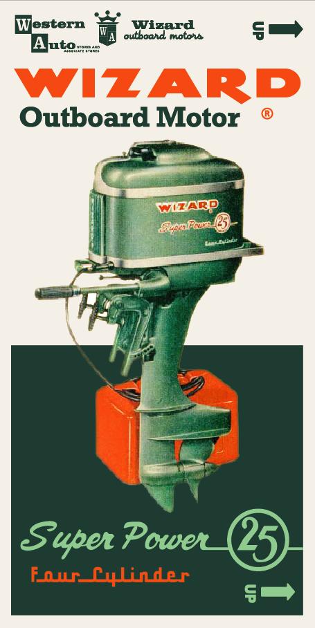 Wizard 60hp Box Design Outboard Boat Motors Vintage