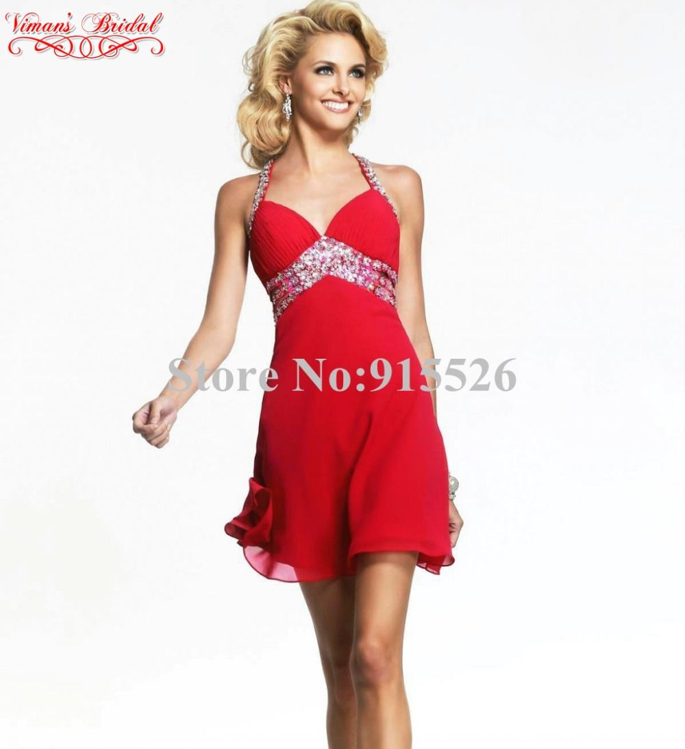 2015 Red Chiffon Cocktail Dresses Beading Crystal V-Neck Criss-Cross ...