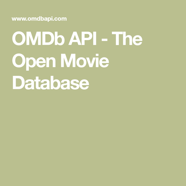 OMDb API - The Open Movie Database | Software development