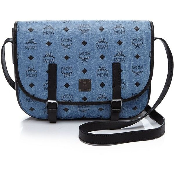 Mcm Crossbody - Color Visetos Flap Messenger ($725) ❤ liked on Polyvore featuring bags, messenger bags, blue crossbody bag, messenger bag, mcm, cross body messenger bag and blue cross body bag