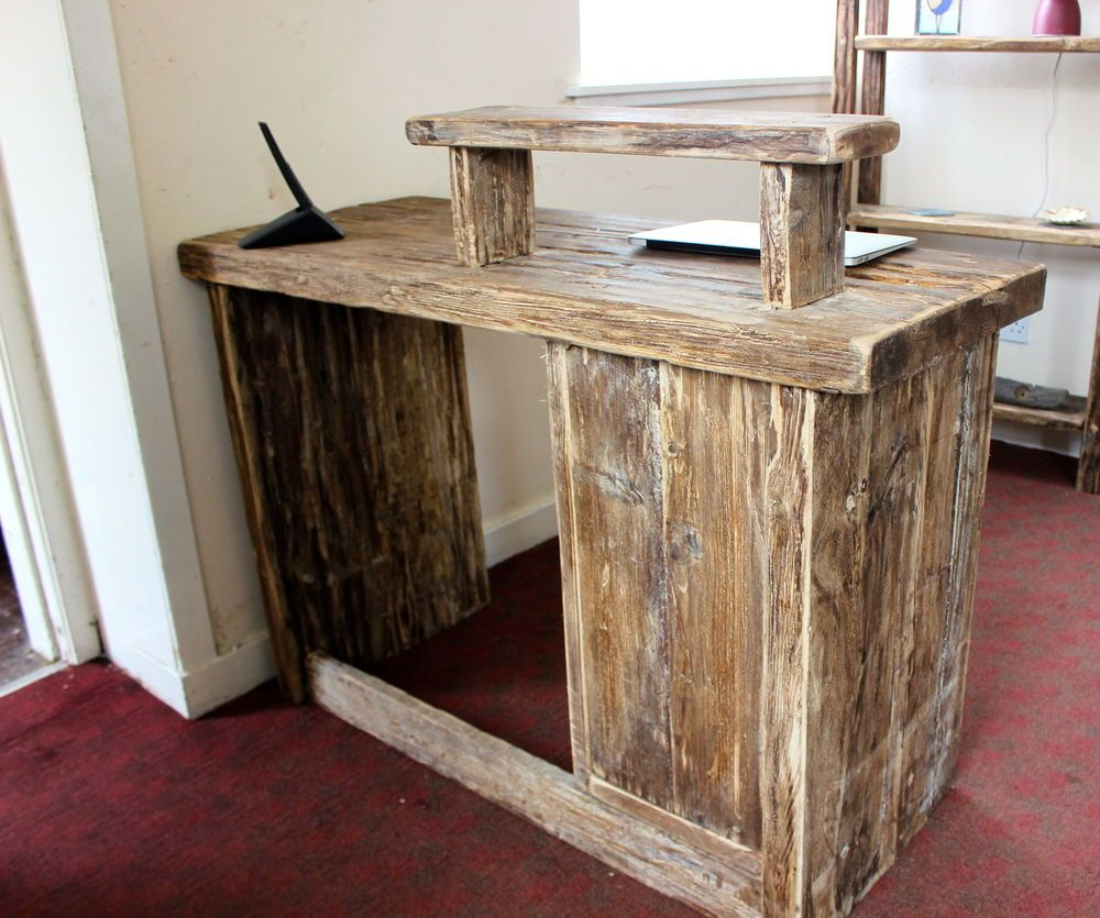 Hairdresser Salon Spa Barber Hotel Rustic Solid Driftwood Wood Reception Desk
