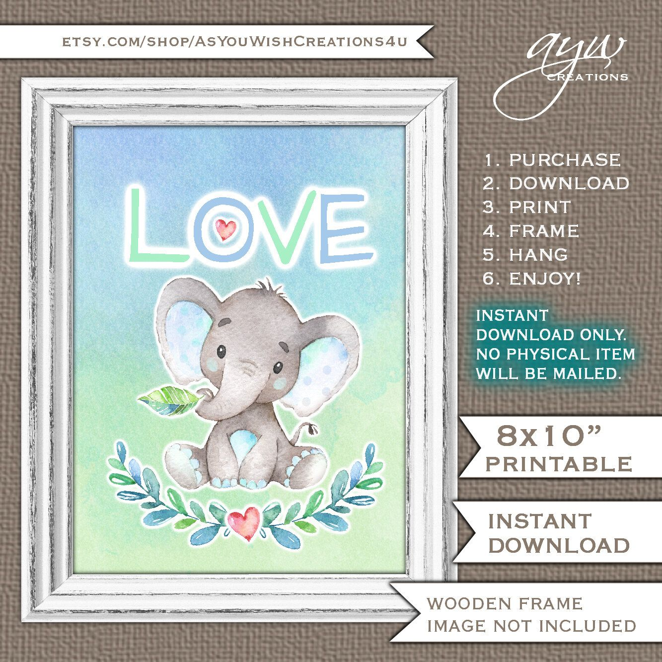 Love wall art elephant wall art watercolor elephant wall decor love love wall art elephant wall art watercolor elephant wall decor love new baby gift baby shower negle Images