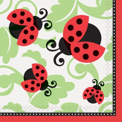 Party Supplies 16 Pieces Little Ladybug Beverage Napkins