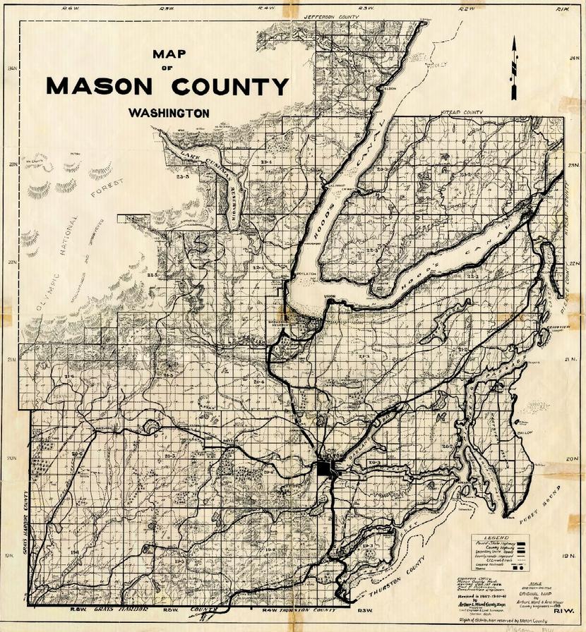 Lewis County Washington Map.Map Of Mason County Washington 1941 Beautiful Maps From Early