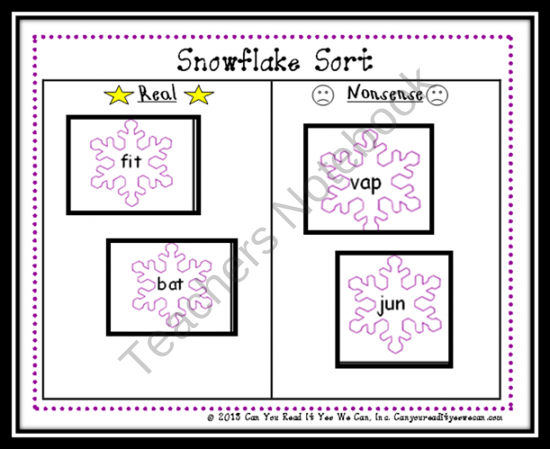 Snowflake Nonsense Word Sort Center Game  product from Can-You-Read-It on TeachersNotebook.com