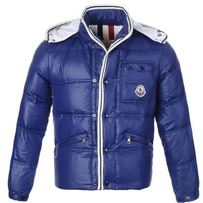 Moncler Mens Branson Classic Short Down Jackets Dark Blue