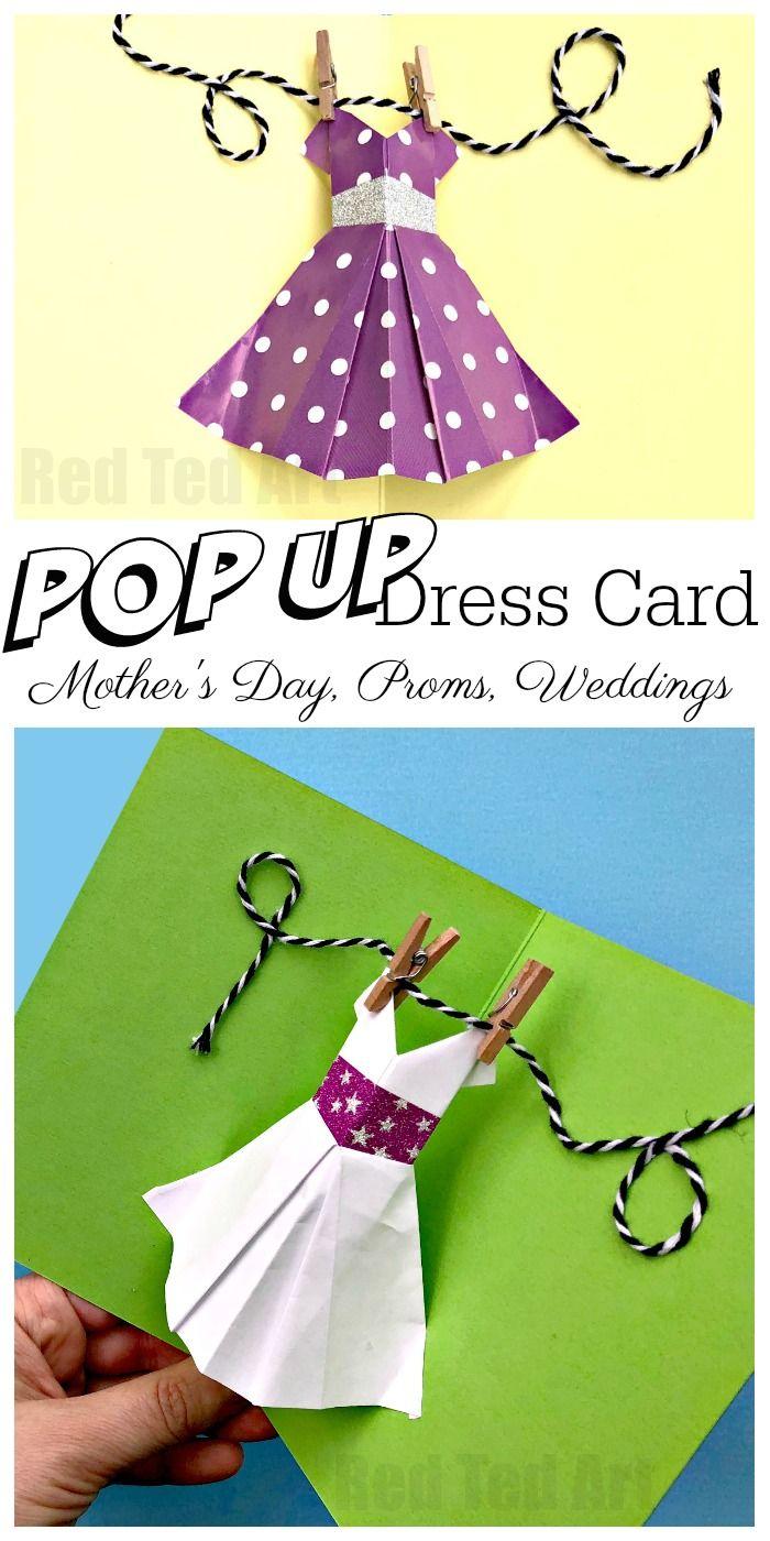Pop up dress card for motherus day diy wedding cards dress card