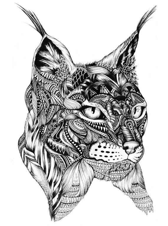 Ausmalbilder Tiere, Katzen, Stift Kunst, Tiere Zeichnen, Luchs,  Entwurfsmuster, Clipart, Erstaunliche Zeichnungen, Tattoo Ideen