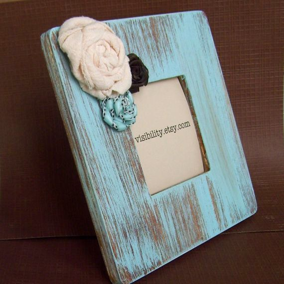 Blue Distressed Frame Flower Picture Frame with Fabric Rosettes ...