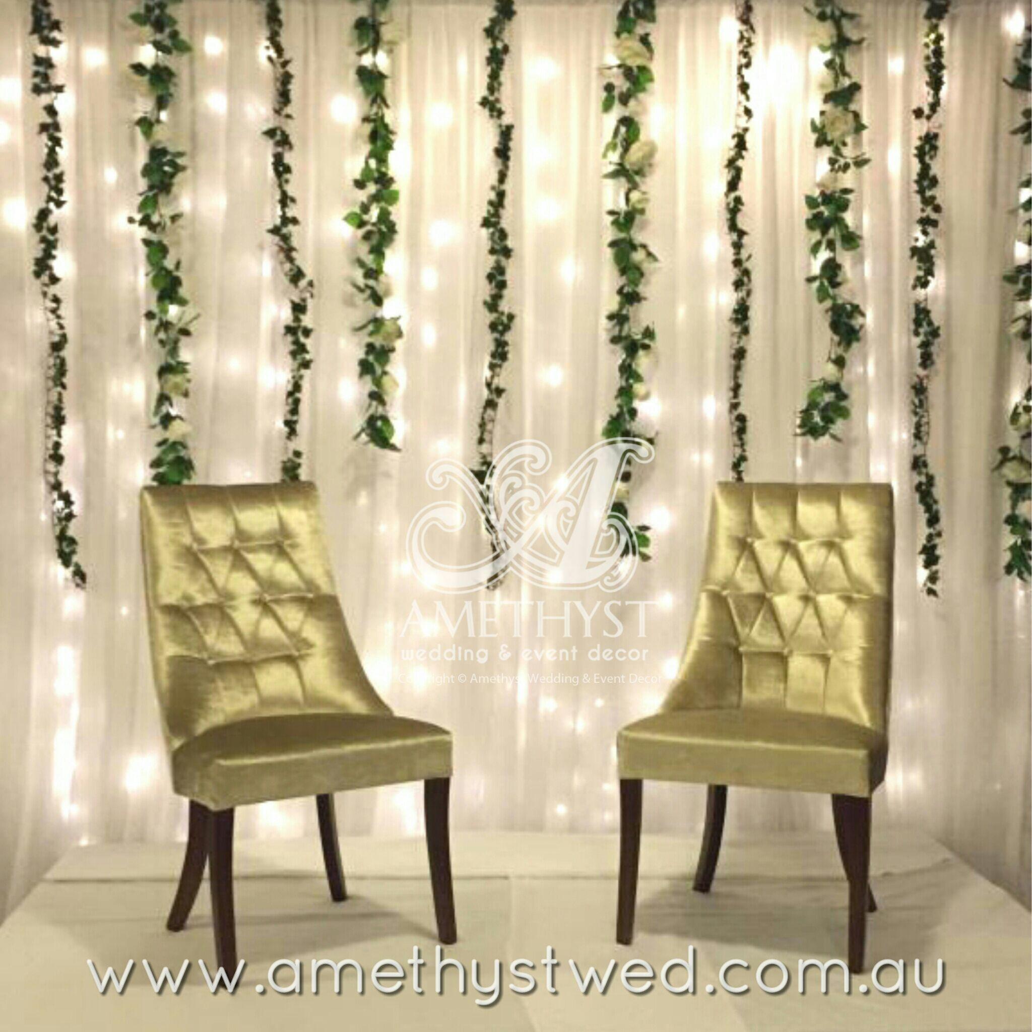 Bridal stage setup Fairy light wedding backdrop drapings