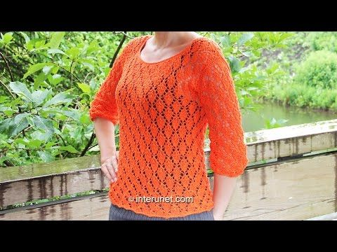 Knitting a blouse - autumn leaves pattern. Part 1 of 3 - YouTube ...