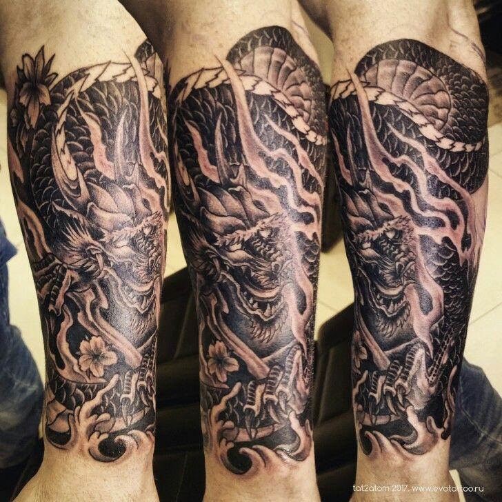Татуировка дракон. Первый сеанс, по эскизу/фото клиента ...