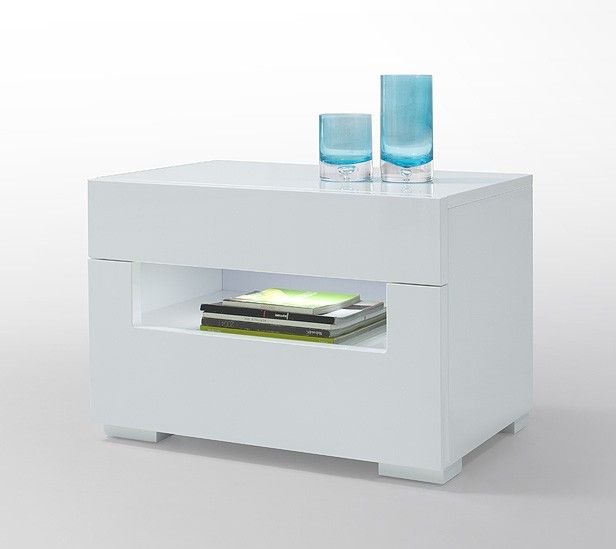 ceres modern white lacquer nightstand - Modern Nightstand