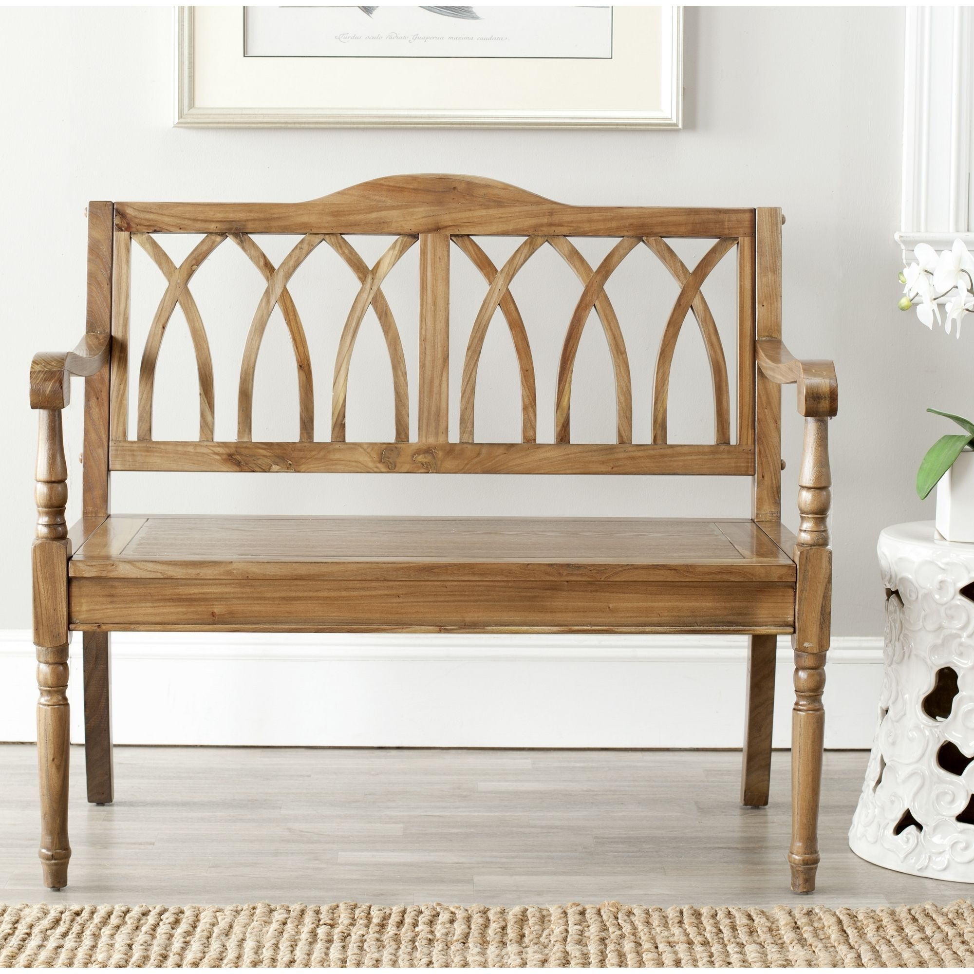 This indoor wooden bench makes a lovely addition to your entryway ...