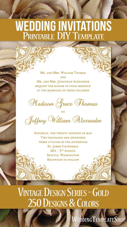 Printable Wedding Invitations DIY Templates Vintage Gold