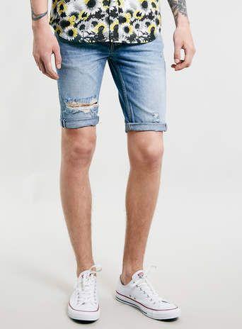Light wash skinny ripped denim shorts #riverisland #rimenswear ...