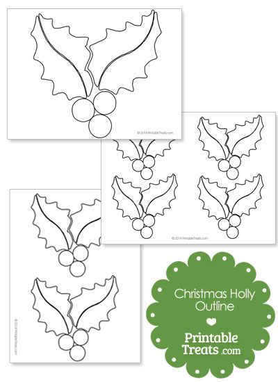 Printable Christmas Holly Outline Template from PrintableTreats - blank outline template
