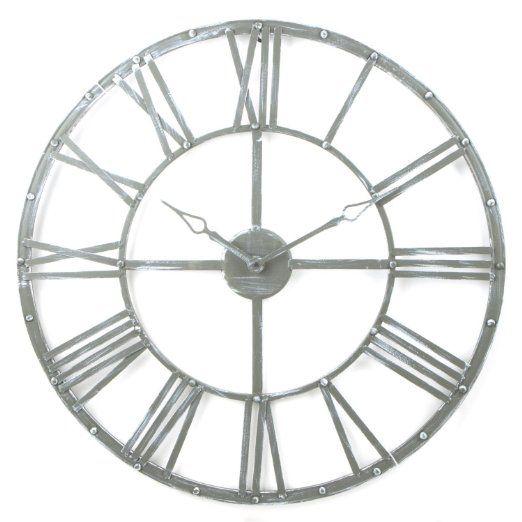 Orologio Ferro Battuto.Grande Orologio Da Parete In Metallo Stile Vintage